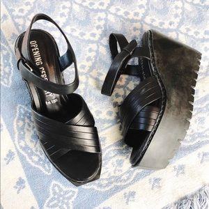 Opening Ceremony Black Leather Platform Sandals